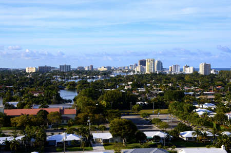 ft lauderdale: View of downtown Ft  Lauderdale and vacation homes from Port Everglades, Florida Stock Photo