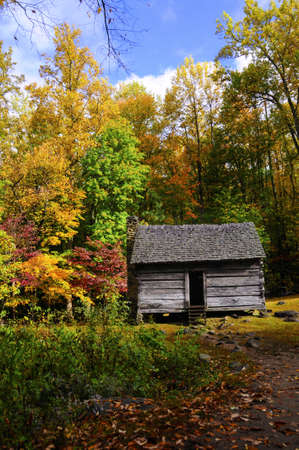 Log cabin in the Great Smoky Mountains National Park in the fall  photo