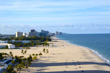 ft lauderdale: View of the ocean and beach with Fort Lauderdale Florida in the background  Stock Photo