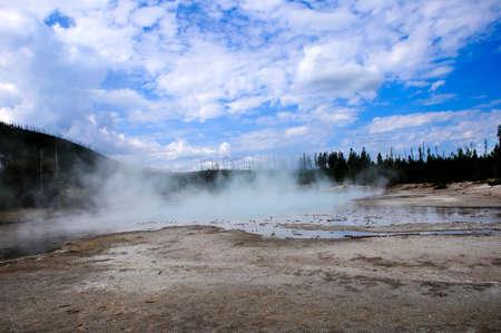 Steaming Green Dragon Spring at Yellowstone National Park Stock Photo