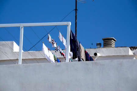 Laundry day at Cadiz Spain on a rooftop