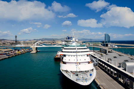 Cruise ship docked at the Port of Barcelona, Spain  Editorial
