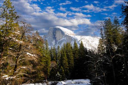 half dome: Half Dome in Winter at Yosemite National Park Stock Photo