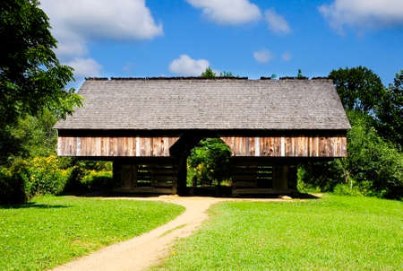 A cantilever barn in Cades Cove, Great smoky mountain national park, tennessee photo