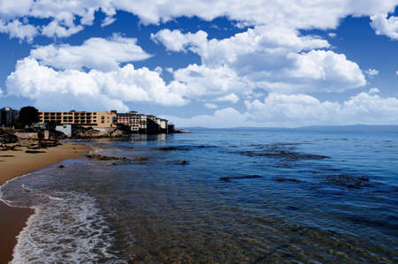 The beach and hotels at Monterey California Imagens