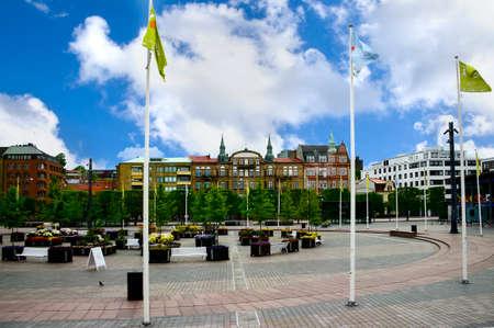 sweden flag: A public square in Helsingborg Sweden