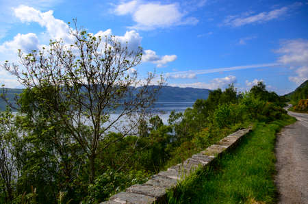 loch ness: Winding road next to Loch Ness, Scotland.