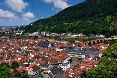 Town of Heidelberg Gemany with the Neckar River. Stock Photo