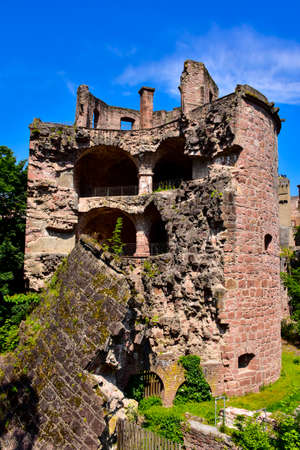 A section of the Castle Heidelberg still in ruins, germany.