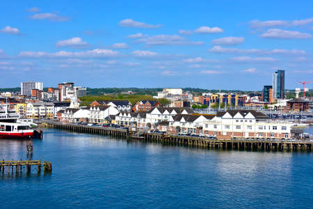 View of Southampton England and piers.