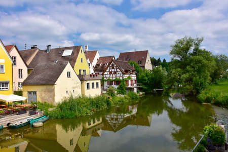 Village of Harburg, Germany along the Wornitz River.