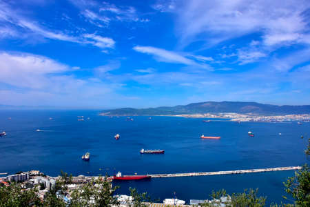 View from Gibraltar overlooking the harbor and in the distance, Africa. Stock Photo