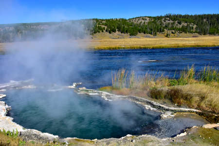 Hot springs on the Firehole river, Yellowstone National Park.