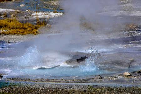 Minute Geyser erupting at Norris Geyser Basin, Yellowstone National Park.