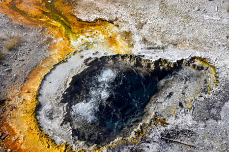 One of the many hot springs on Geyser Hill, Yellowstone National Park.