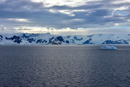 Blue iceberg floating in front of Elephant Island, Antarctica.