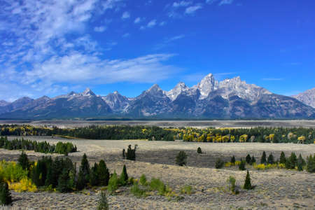 Fall view of the Grand Tetons in Wyoming.