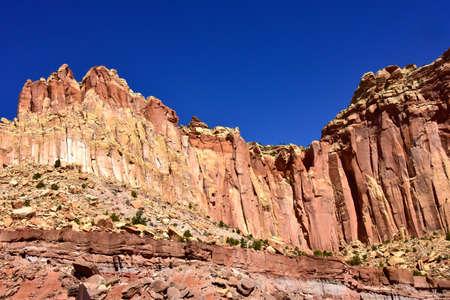 Red rocks and blue sky at Capitol Reef National Park, Utah.