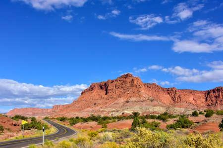 Road through the red rocks in Capitol Reef National Park, Utah.