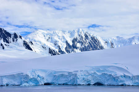 View of the glaciers and mountains on Antarctica.