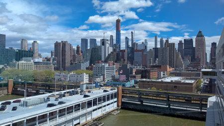Manhattan skyline taken from a docked cruise ship.