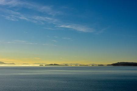 Cruising in Alaska at sunrise.