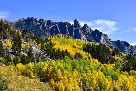 Fall colors on the San Juan Skyway in Colorado Standard-Bild