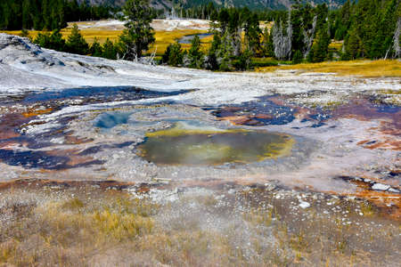 Colorful hot springs on Geyser Hill, Yellowstone National Park.