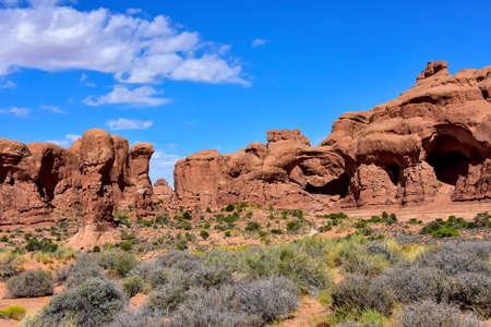 Red rocks and sage brush at Arches National Park, Utah Standard-Bild