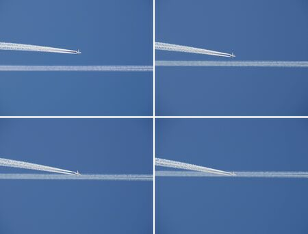 Crossing celestial highways: the large contrails and a passenger jet in the blue sky, a series of images. Air lines over people