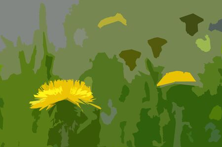 Dandelions on the lawn: an applique simplified picture. A generalized image with the fully opened yellow corolla among motley polygonal filling Banque d'images