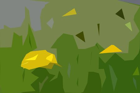Dandelions on the lawn: an applique simplified picture. A polygonal extremely generalized image with the yellow corollas among motley polygonal filling Banque d'images