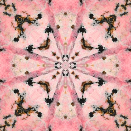 Decorative rhodonite rock: square ornaments, colored mainly by pink. Natural traceries in samples of manganese spar, combined into the kaleidoscopic patterns, variation No.3
