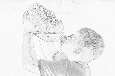 Extremely thirsty boy avidly drinks from a large bottle. A monochromatic picture in style of pencil drawing. Fine-line lead pencil in shades of iron-gray; highly detailed image with the contrast edges Zdjęcie Seryjne - 140203720