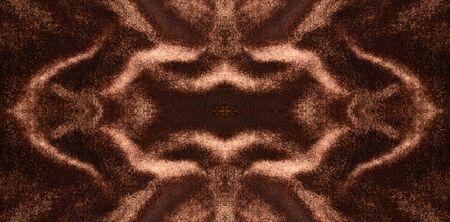 Dark brown velveteen: a wide ornament made of various folds. The horizontal self-reflected pattern made of velvet tissue