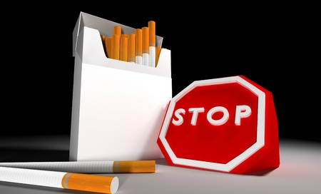 pack of cigarettes with stop sign Stock Photo