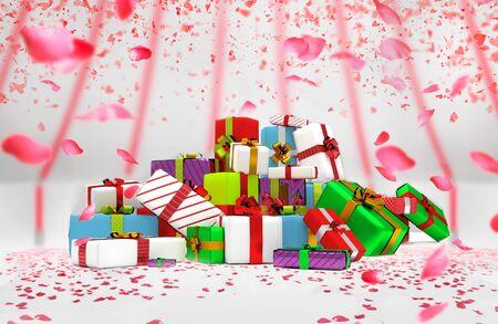 colorfull christmass 선물 상자의 더미