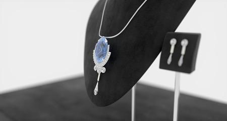 Grote saphire sieraden op de stand Stockfoto - 33513254