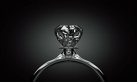 Shining ring with diamond in the darkness