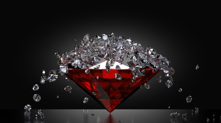 ruby stone: Lots of small diamonds falling on a large ruby stone Stock Photo