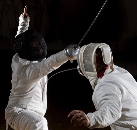 swordsmen fencing. photo