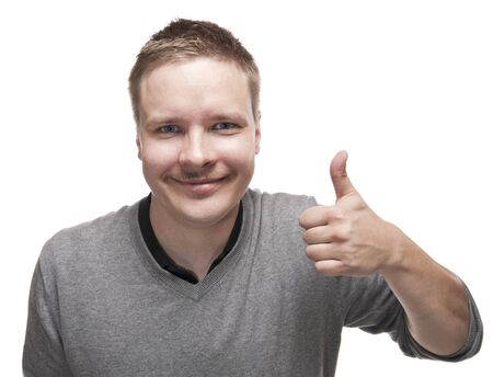 Smiling man with a funny mustache giving the Thumb Up sign. photo