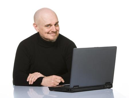 Happy Senior with Laptop  Isolated on white