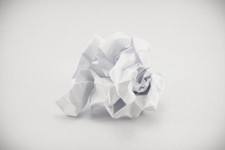 crumpled: Crumpled paper on white background Stock Photo