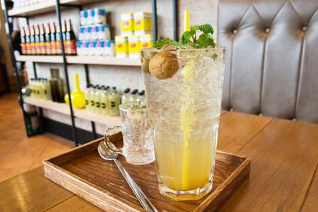 plum island: Soft drink in restaurant Stock Photo