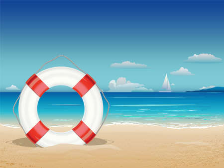 sea green: Sea landscape with lifebuoy. Vector Illustration.