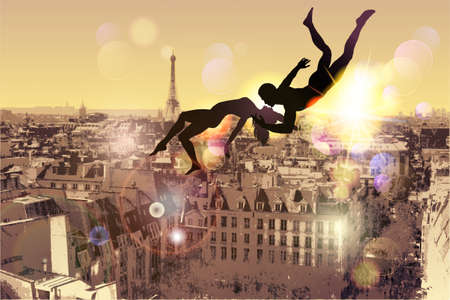 sexual: Paris-place for the most amazing Kiss. Illustration