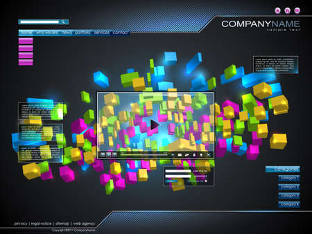 Technology website design. 1600x1200 Stock Vector - 10120879
