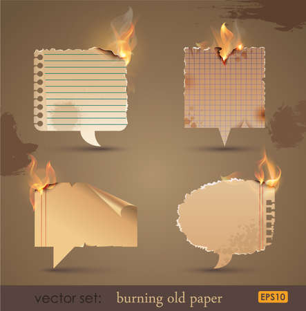 yellow note: Vector set: Burning Old Paper. Vector Illustration