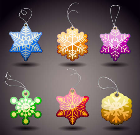 reduction: Christmas Glossy Tags - Snowflakes.